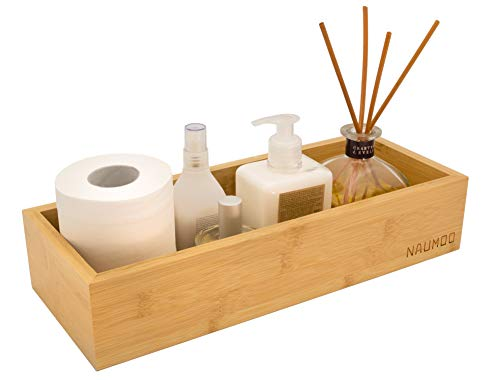 NAUMOO Natural Bamboo Bathroom Tray - Slip-Resistant Wooden Basket for Toilet Tank Top and Counter - Home Decor Wood Box for Toilet Paper Storage, Vanity Topper