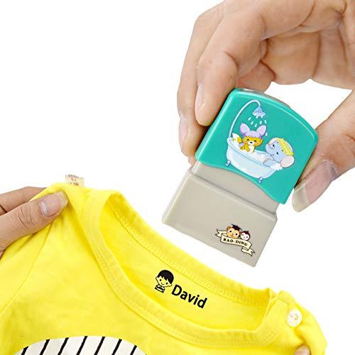 Timbro Personalizzata Per Vestiti Il Nome Timbri Del Bambino Fai Da Te Per Bambini Nomi Studente Timbro Non Facile Da Sbiadire Etichette (Ragazzo Blu)
