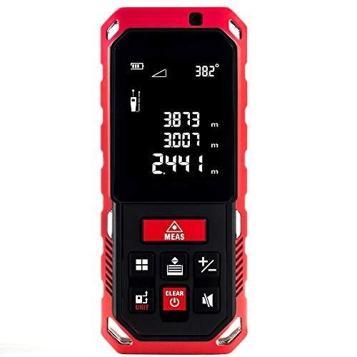Laser Entfernungsmesser,Messbereich 0,05-40 M, Lcd Display Mit Beleuchtung, Neigungssensor, ± 2,0 Mm Messgenauigkeit, Ni-Mh 800 Mah Akkus, Schutztasche, Ip65 Schutzklasse
