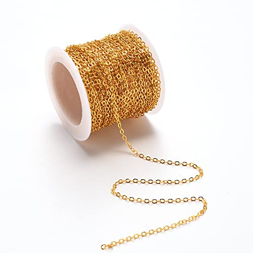 Clest F&H Kreuzketten Flache ovale Glieder Kabelkette Halskette für die Schmuckherstellung (golden, 2,6x2x0,3 mm)