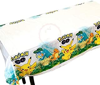Party Propz Set of 1 Pokeman Rectangular Plastic Party Table Cover for Birthday Decorations / Party Supplies (WHITE, SET O...