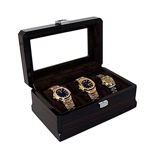 N&W Automatic Watch Winder Box Display Case Container Black Suede Inside Paint Outside with Storage Organizer Display