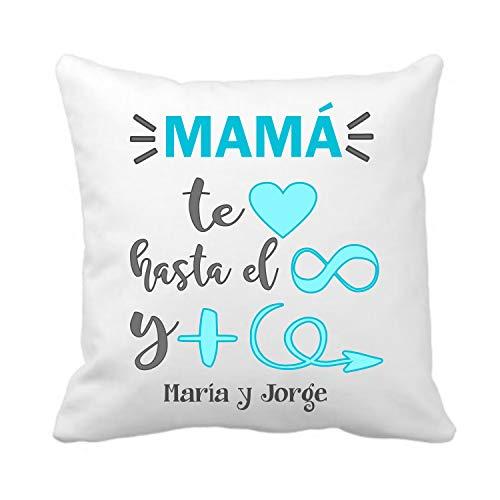 Kembilove Cojín Personalizado para Madre – Cojines Decorativos Personalizados Mamá te Amo hasta el Infinito en Azul con Hermosos Mensajes de Amor – Ultra Suaves y Cómodos Mamá