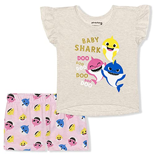 Nickelodeon Baby Shark 2 Pack Shirts and Shorts Set for Girls, Baby and Toddler, Size 12M Light Beige