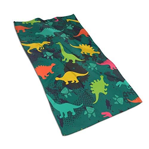 Toallas de mano de dinosaurio de colores lindos de 45 x 60 cm de microfibra suave, toalla súper absorbente y de secado rápido para baño, mano, cara, gimnasio y spa