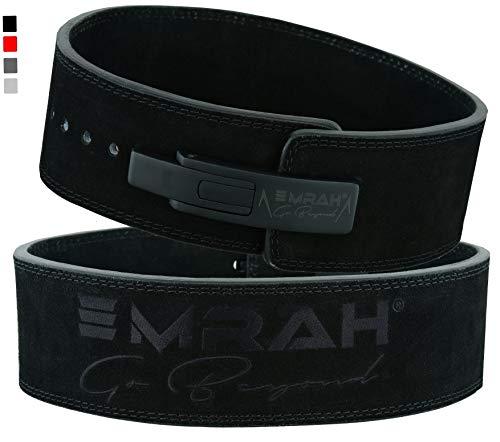 EMRAH PRO Buff Hide Leather Powerlifting Lever Fibbia Gym Workout Fitness Crossfit Cintura per Sollevamento Pesi per Uomini e Donne | Bene Confortevole (Nero Opaco, Grande)