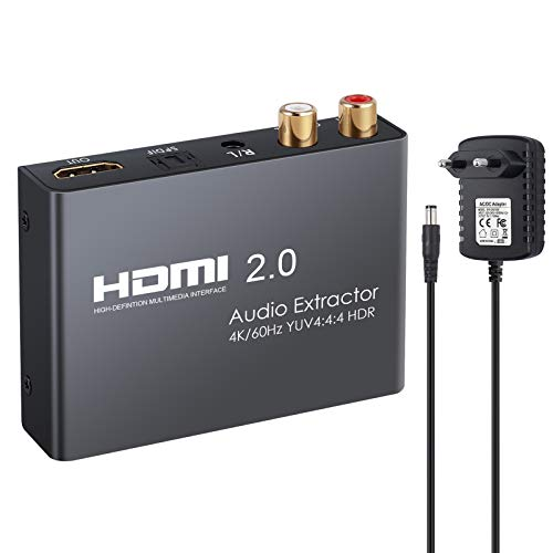 eSynic HDMI 2.0 Audio Extractor Unterstützt 4K@60Hz YUV 4:4:4 und HDR HDMI zu Optisch Toslink SPDIF + Analoger RCA L/R 3,5 mm Kopfhörer Stereo Audio Splitter Konverter für Blu-ray Player HDTV