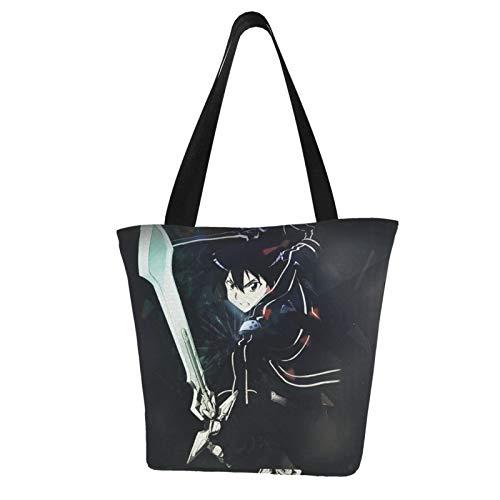 Sword Art Online Kirigaya Kazuto Poliéster Bolsa de Hombro de las Mujeres Bolsas de Gran Capacidad Compras Bolsas de Viaje Fitness Beach Saack 11 X 7 X 13 Pulgadas