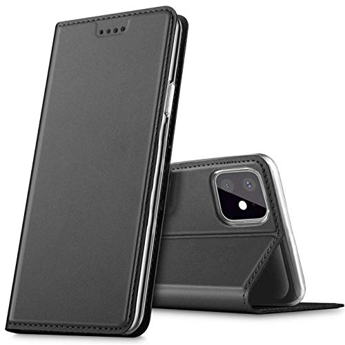 Verco Handyhülle für iPhone 11, Premium Handy Flip Cover für Apple iPhone 11 Hülle [integr. Magnet] Book Hülle PU Leder Tasche (6,1 Zoll), Schwarz