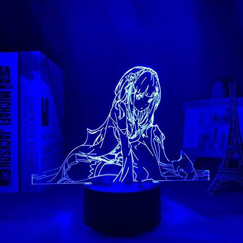 3D-anime nattlampa för barn, lampa återkallar noll startliv i en annan värld LED för rumsdekor nattlampa Re Zero Emilia nattlampa för födelsedag/julklapp (beröringskontroll)