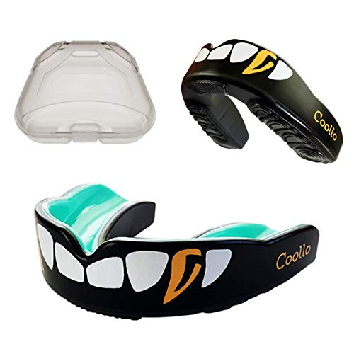 Coollo Sports Boil and Bite Mouth Guard (Youth & Adult) DA Custom Fit Sport Mouthpiece for Football, Hockey, Rugby, Lacrosse,Boxing,MMA(Free Case Included!) (Cool Golden Fangs, Adult -Ages 11 & Above)