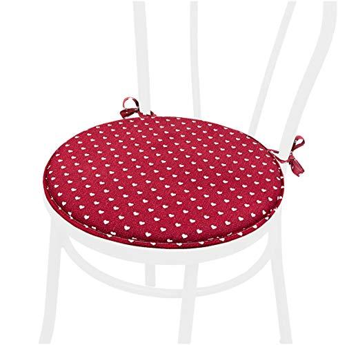 emmevi Cojín para silla corazones redondo, suave, universal con lazos lavable DALIA56L burdeos