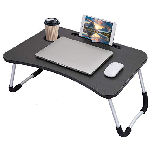 Hossejoy Foldable Laptop Table, Breakfast Serving Bed Tray, Lap Desk with Foldable Leg & Tablet Phone Groove & Cup Slot for Reading Writing Eating on Bed Couch Sofa Floor (Black)
