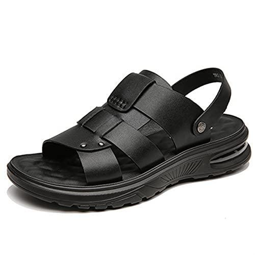 ANLEI Sandalias Hombre Sandalias para Hombres Dual Uso Diapas Slide Slipper Air Cushion Refuerzos Refuerzo Open Toe Hollow out Playa Zapatos Negro Color Sólido Cómodo Suave