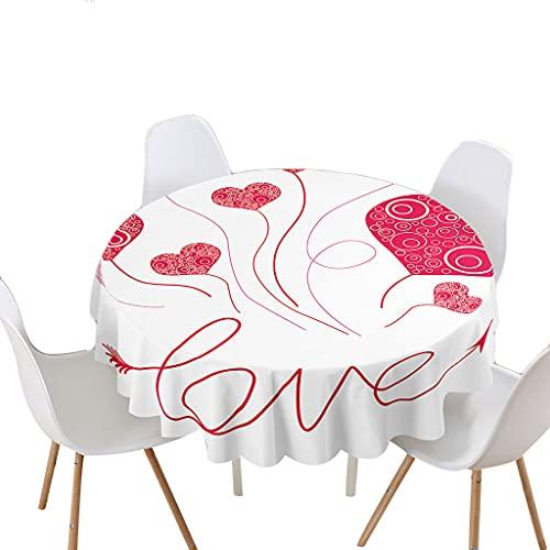 Highdi Impermeable Mantel de Redondo, Antimanchas Lavable Manteles Moderno Decoración para Salón, Cocina, Comedor, Mesa, Interior y Exterior (Amor,Redondo 120cm)