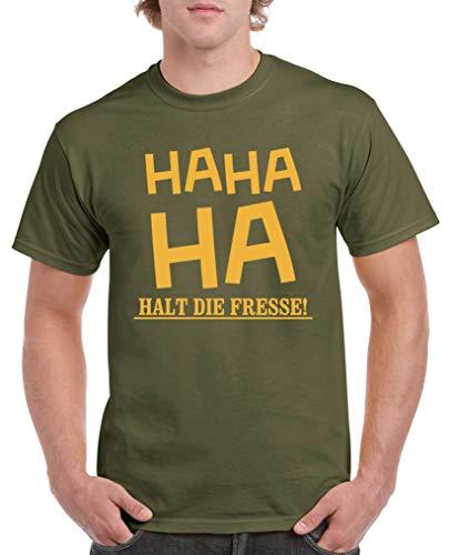Comedy Shirts - HA HA Halt die Fresse! - Herren T-Shirt - Oliv/Gelb Gr. XXL
