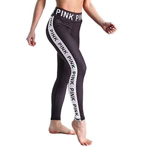 Women's Fashion gedrukte letters hoog getailleerde Billen yoga broek dames Elastische Fitness Broek Sports joggingbroek Leggings Slimming Scrunch Butt Lift Tights (Size : L)
