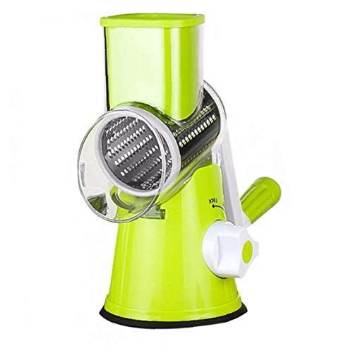 nJiaMe Manual de Queso rallador de Verduras Cortar giratoria del Tambor rallador de la Fruta con Shredder 3 Inoxidable Acero rotativo Conjunto Verde