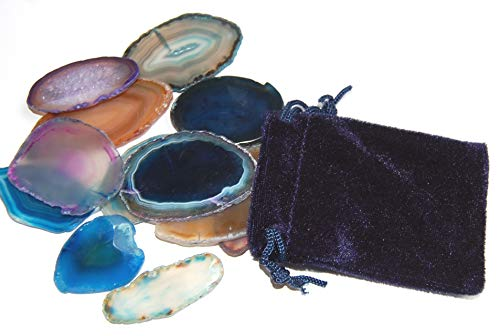 Edelsteine, acht farbige Achatscheiben in einem schönen Samtbeutel