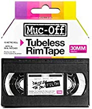 Muc-Off Tubeless Rim Tape, 30mm - Pressure-Sensitive Adhesive Rim Tape for Tubeless Bike Tyre Setups - 10 Metre Roll with 4 Seal Patches, Multi-Coloured (20072)