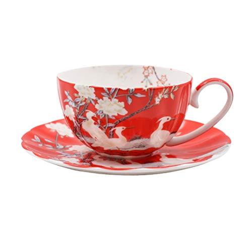 JJIU Juego De Té De Cerámica Europea Juego De Café Juego De Taza Y Platillo De Té De Porcelana Clásica Taza De Café De Cerámica (Color : Red)
