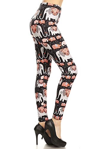 R939-PLUS Elephant Love Print Leggings