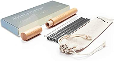 Zenify Reusable Straws Set - Metal Stainless Steel Straight Drinking Straw with Wooden Case and Canvas Storage Bag for...