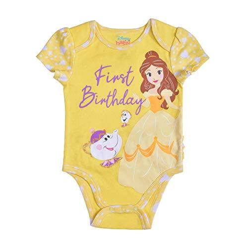 Disney Princess Belle Baby Girl's Short Sleeve First Birthday Bodysuit Onesie, Yellow, Size 12M
