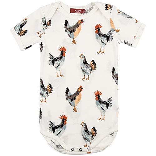 MilkBarn Organic Cotton Short Sleeve One Piece, Chickens...