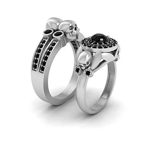 Anillo de boda de oro blanco sólido de 10 quilates con diseño de calavera gótica a juego para él y ella con diamantes negros de doble halo de calavera