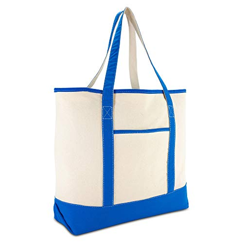 DALIX 22' Extra Large Shopping Tote Bag w Outer Pocket in Royal and Natural