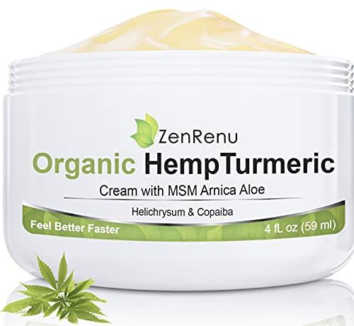 Organic Hemp Cream Large (4 oz) Value Size by ZenRenu - MSM Turmeric Arnica - Made in USA Premium Hemp Oil
