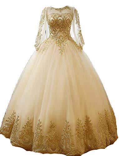 Dresses Onlie Damen Rundhals Quinceanera Kleider Mit Langarm Prinzessin Applikationen Hochzeitskleider Lang Abendkleider Ballkleider(Champagner,50)