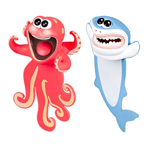 Whaline 3D Cartoon Animal Bookmark 2 Pieces Squashed Ocean Animals Bookmark with 2 Boxes Red Octopus Blue Shark Cute Reading Bookmark Decorative Bookmark Back to School Gift for Kids