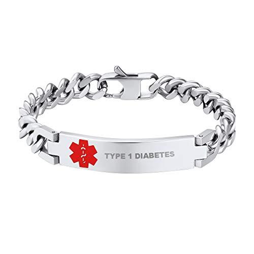 Supcare Medizinische Erste Hilfe Edelstahl Byzanz Armband, Einstellbare Edelstahlarmband,Medical Emergency Bracelet Stretch Armband für Herrn,Damen,Kindern