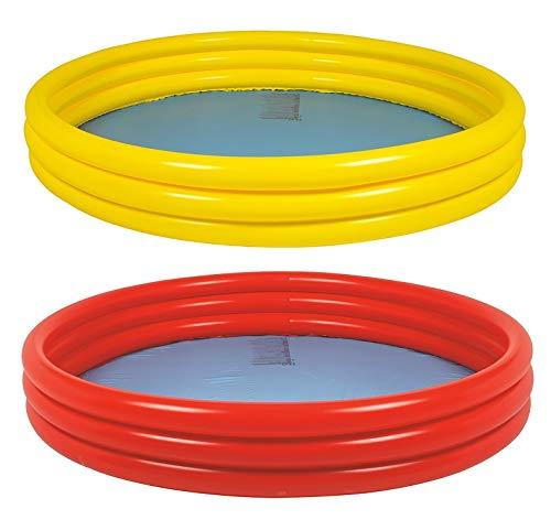 Aufblasbarer DREI-Ring-Planschbecken - Bunter, Runder Pool Zum Aufblasen , Baby Ocean Ball Sandpool Badspielzeug Platz - Tolles Kinder-Sommersonnen-Gartenspielzeug Für Kinder Im Freien (Color : Red)