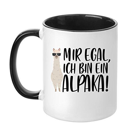 TassenTicker - ''Mir egal, ich Bin EIN Alpaka!'' - hochwertige Qualität - Kaffeetasse - Geschenke - Tasse mit Spruch - Alpaka - (Schwarz)