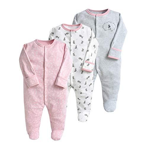 Pijama para bebé, pelele, paquete de 3, unisex, de algodón, 3 a 12 meses beige Gris1. Talla:0-3 meses