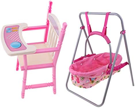 Prettyia Foldable Doll Baby Toddler High Chair Doll Carrier Cradle Swing Playset for Reborn product image