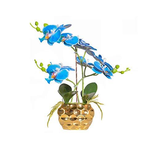 A diferencia de las plantas frescas, las flores en Bonsai Nordic Decoración del hogar Ornamentos en maceta Bouquet Fake Bouquet 3D Feel Sittation Phalaenopsis Set Para la sala de estar en casa decorac
