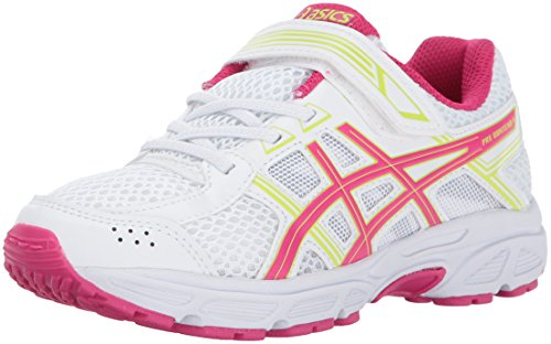 ASICS Unisex-Kid's PRE-Contend 4 PS Running Shoe, White/Pink/Energy Green, K11 Medium US Little Kid