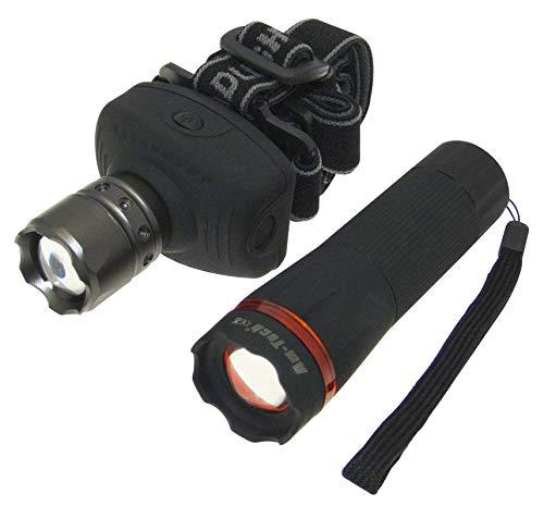 Am-Tech Ensemble lampe frontale et lampe torche Zoom LED 1 W