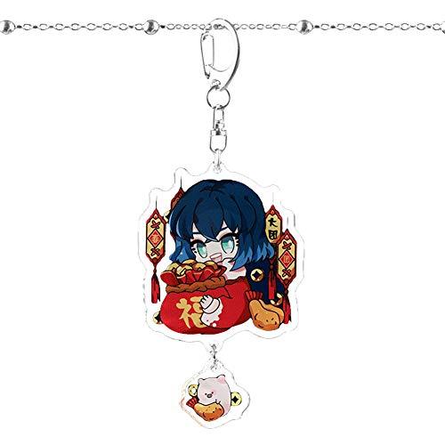Dacitiery Anime Demon Slayer Schlüsselanhänger, Tanjirou Nezuko Keychains, für Schultasche, Federmäppchen, Schlüssel - Stil 04(E-03)