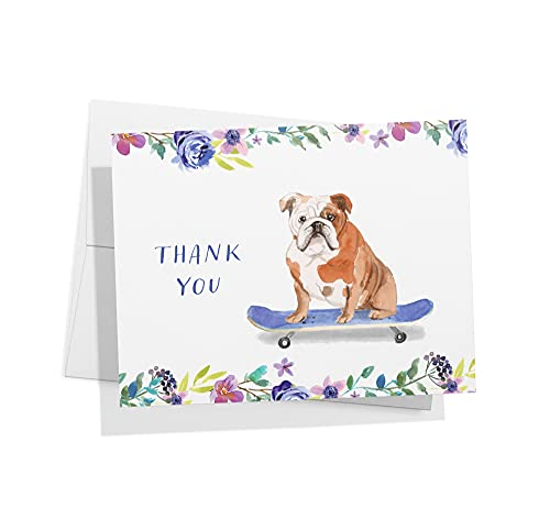 Twigs Paper - English Bulldog Thank You Cards - Set of 12 Blank Dog Cards (5.5 x 4.25 Inch) with 12 Envelopes - 100% EcoFriendly Stationery - Made in USA (1 Design, 12 Cards Total)
