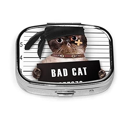 Bad Cat Custom Fashion Silver Square Pill Box Medicine Tablet Holder Wallet Organizer Case For Pocket Or Purse Vitamin Organizer Holder Decorative Box