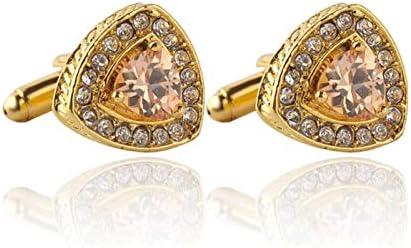 GYZX Hot Classic Cufflinks for Mens Women Crystal Fashion Triangle Cuff Accessories Shirt Cufflink (Color : Gold)