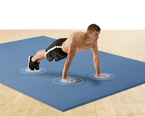 """Polly House Extra Large TPE Exercise Mat Size 72""""x48"""", 8mm thickness, Non Slippery Textured Design, Ultra Durable Multi Purpose Fitness Workout Mat for Home Gym Flooring (Blue)"""