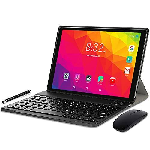 YOTOPT U10 Tablet 10 Pulgadas con Teclado y Ratón, Android 10.0 Tableta Octa-Core con WiFi, 4GB RAM, 64GB ROM, 128GB Expandible, 4G LTE Dual SIM, GPS Bluetooth 4.2 Type-c,Gris