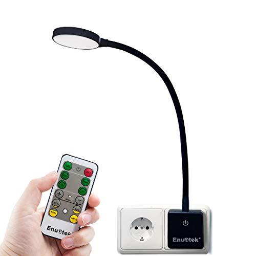 LED Nachtlicht Nachttischlampe Steckdosenlampe Touch Lampe mit Netzstecker & Fernbedienung Dimmbar 4W Tageslicht 5000K 1er Lampe und 1er Fernbedienung von Enuotek