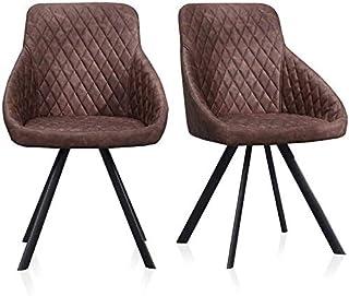 Sillas de la cocina del hogar de la sala de sillas 2pcs Faux sillas de cuero Set recepción de lujo muebles acolchados del asiento Sillas de restauración innovadores Sillas Silla de oficina Sillas de h